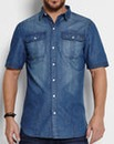 Firetrap Noah Mid Wash Denim Shirt Long