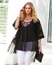 Simply Be Fringe Kimono Lace Cover Up