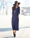 Plain 3/4 Sleeve Jersey Dress