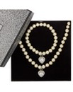 Mood Pearl And Heart Drop Jewellery Set