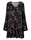 Black Floral Bell Sleeve Tunic