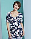 Navy Floral Print Jersey Tunic