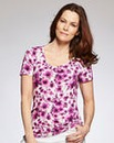 Pink Floral Jersey Round Neck Top