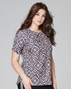 Stone Print Jersey Top With Curved Hem