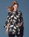 Simply Be Mono Print Split Sleeve Tunic