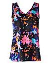 Pink Print V-Neck Woven Vest