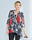 Palm Print Embellished Dip Hem Tunic