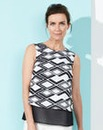 Mono Print Sleeveless Longline Shell Top