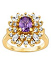 Gold-Plated Amethyst Ring