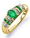 9 Carat Gold Emerald & Diamond-Set Ring