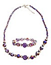 Purple Beaded Necklace & Bracelet Set