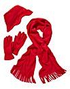 Embossed Fleece Scarf, Hat & Gloves Set