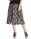 Split Front Midi Skirt - Black Floral