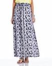 Black Print Crepe Maxi Skirt