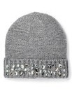 Grey Embellished Beanie Hat