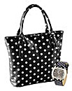 Black Spotty Bag & Watch Set