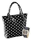 Black Spotty Bag & Watch Set