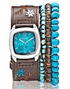 Kahuna Brown Strap Watch & Bracelet Set