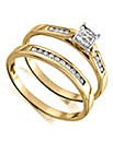 9 Carat Gold Princess Shape Ring Set