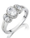 Diamonfire CZ Three Stone Ring