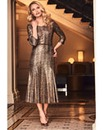 Joanna Hope Snake Print Metallic Dress