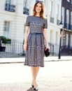 Nightingales Houndstooth Dress With Belt