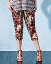 Print Jersey Crop Harem Trousers