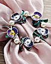 Pansies Scarf Ring with Faux Pearl