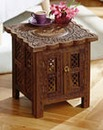 Carved Table with Storage and Key