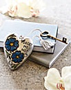Forget Me Not Heart & Key Decoration