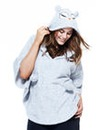 Pretty Secrets Sherpa Fleece Owl Poncho