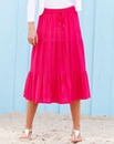 Linen Tiered Maxi Skirt 33in