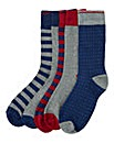 Southbay Pack of Five Plain/Stripe Socks