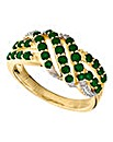 9 Carat Gold Emerald Cluster Ring