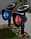2 Multicolour Solar Spotlights & Remote