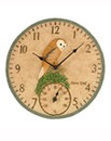 Owl Wall Clock and Thermometer