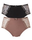 2 Pack Ella Lace Mink/Black Briefs
