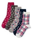 Five Pack Multi Print Ankle Socks