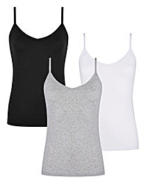 Black/ Grey/ White Pack of 3 Camisoles
