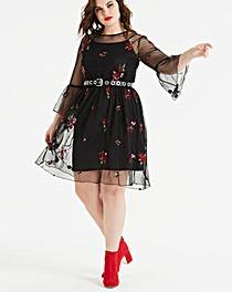 Koovs Embroidered Mesh Dress