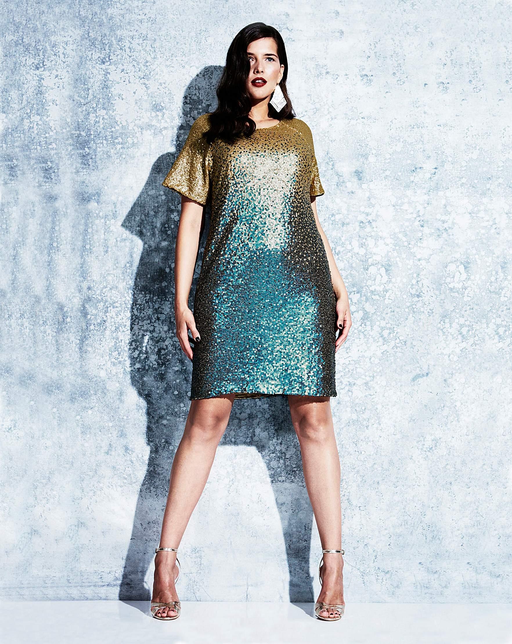 Elvi Ombre Sequin Dress   Simply Be