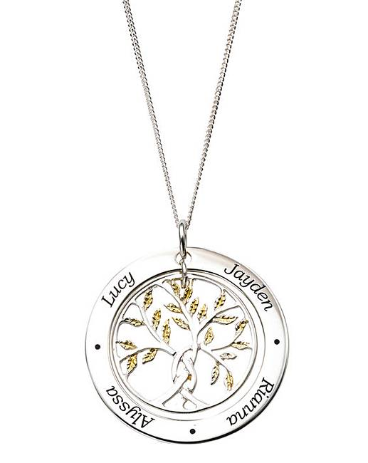Excellent Personalised Gold Family Tree Pendant   J D Williams AF31