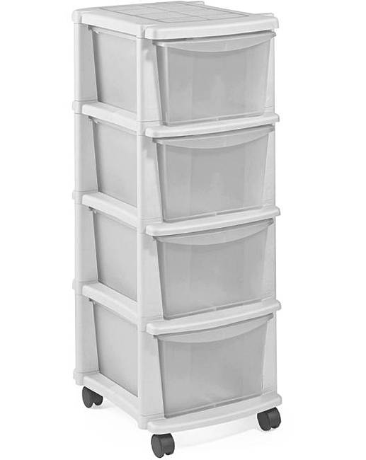 Keter 4 Drawer Plastic Unit White Marisota