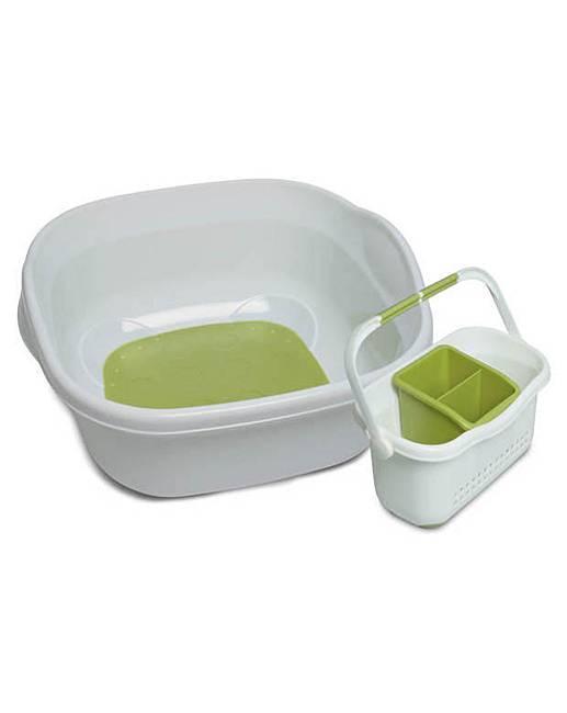 addis wash up bowl caddy set white green j d williams. Black Bedroom Furniture Sets. Home Design Ideas