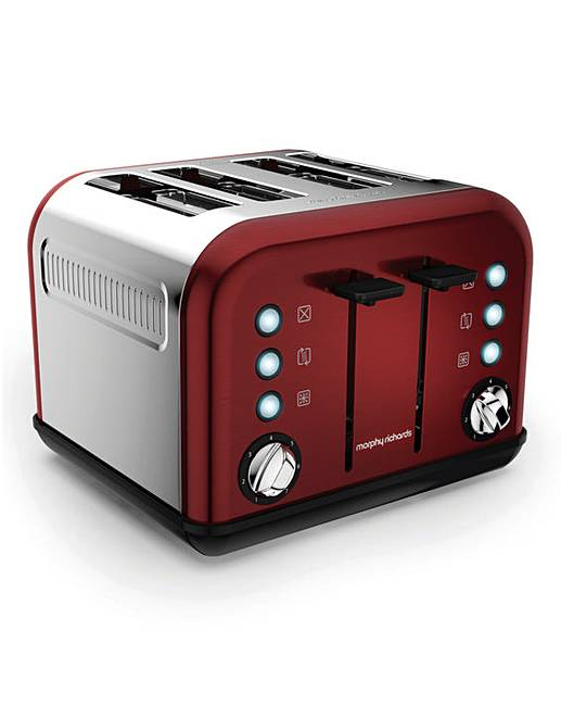morphy richards red 4 slice toaster fashion world. Black Bedroom Furniture Sets. Home Design Ideas