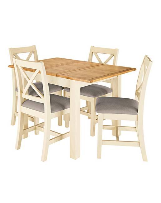 Harrogate Two Tone Oak And Veneer Small Extending Table 4 Chairs