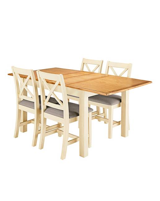 Harrogate Two Tone Oak And Veneer Large Extending Table 4 Chairs