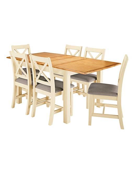 Harrogate Two Tone Oak And Veneer Large Extending Table 6 Chairs