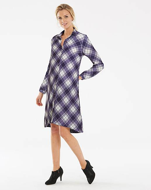 Blue check long sleeve shirt dress marisota for Blue check dress shirt