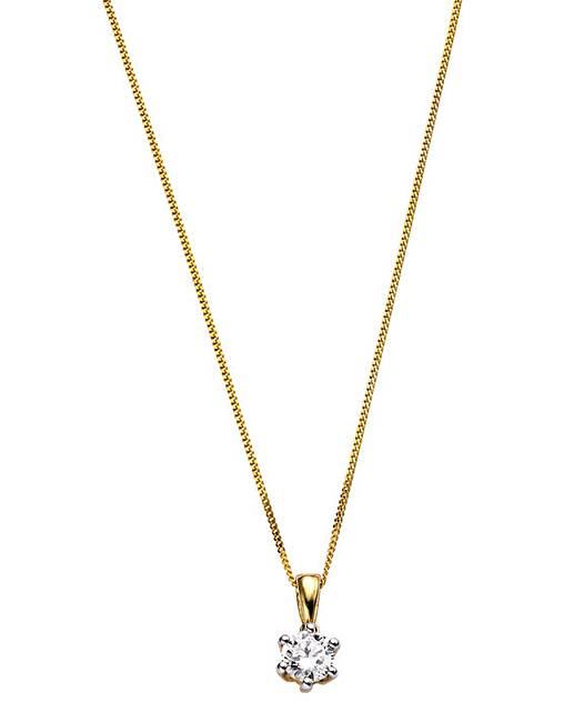 9 carat gold 12 carat diamond pendant j d williams 9 carat gold 12 carat diamond solitaire pendant aloadofball Choice Image